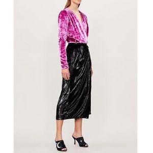 Attics velvet wrap dress in pink and black